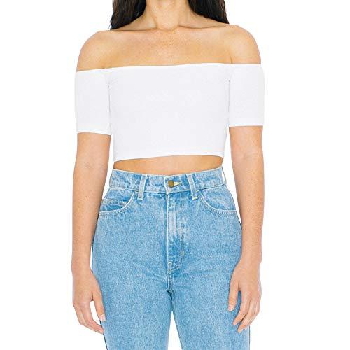 American Apparel Women's Cotton Spandex Off-Shoulder Short Sleeve Top, White, Medium