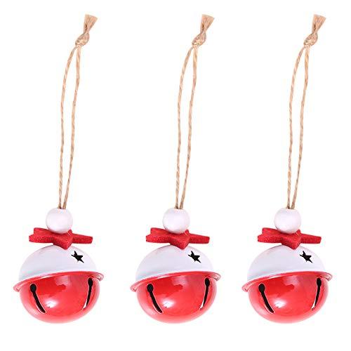 Bodhi2000 Décorations pour Arbre de Noël, 3 pcs Pendentif en Forme de Cloches de Fer Décoration à Suspendre fête de Vacances Décor Cadeau de Noël, coloré, Taille Unique