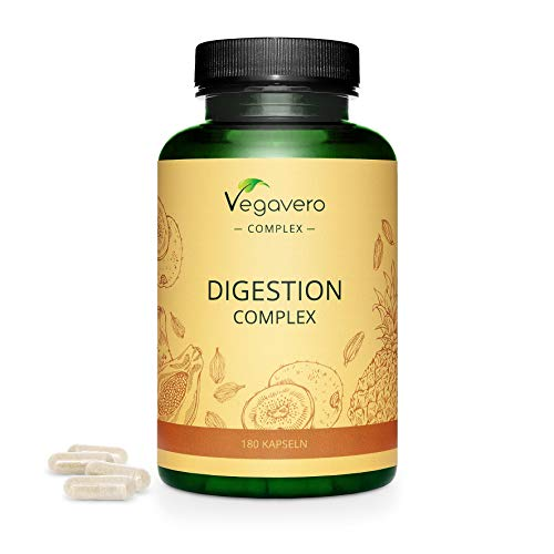 Vegan Digestive Enzymes Vegavero | 100% Natural | Digestion Supplement | Papain & Bromelain, KWD+ Kiwi Extract, Cardamom and Cumin Extract | Without Additives | 180 Capsules