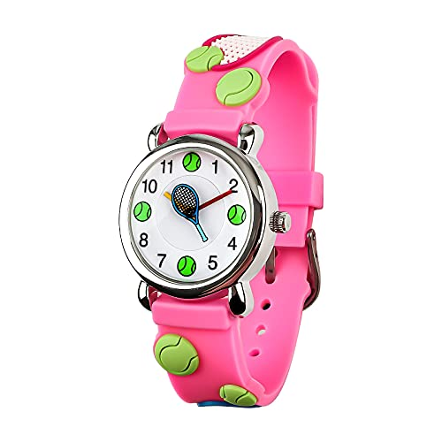 Vinmori Kinder Armbanduhr Jungen und Mädchen, wasserdichte Quarzuhr mit süßer 3D Cartoon Kinderuhr (Tennis pink)