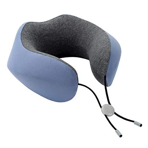Philorn Nackenkissen, U Geformte Memory Foam Nackenstützkissen, Reisen Kissen, Hals Kissen Mit 3D konturierte Augenmasken und Ohrenstöpsel Aufbewahrungstasche (Blau & Grau)