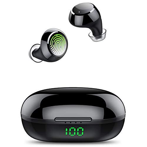 Tiksounds Auriculares Bluetooth, Auriculares Inalambricos con Micrófono, 36 Horas Reproducción con Estuche de Carga, Cascos Inhalabricos con Sonido Estéreo, Pantalla LED para Correr, Trabajos