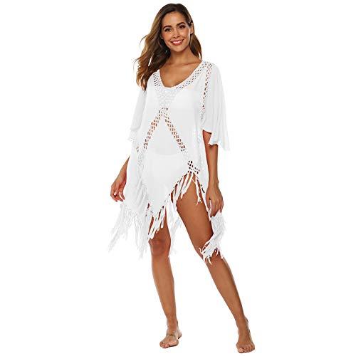 GAOHONGMEI Mujer Hueca Bikini Traje de baño Ganchillo Sexy Punto de Punto con Vestido de Playa Ropa de Sol protección Solar White-One Size