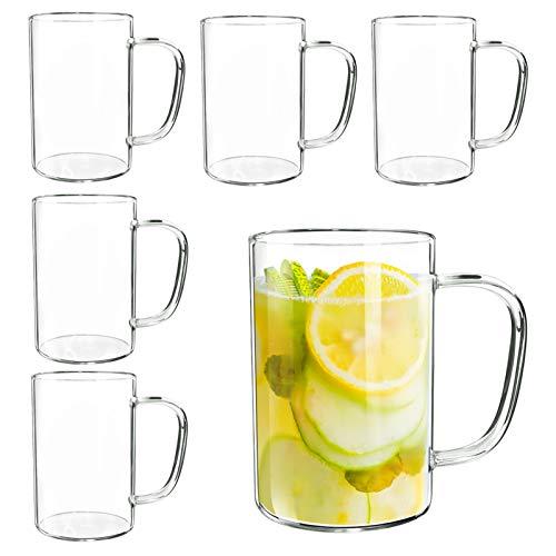 Giftgarden Tazas de Cafe de Vidrio con Asa, 300ml, Juego de 6, Vasos Transparentes para Bebida Fria y Caliente, como Leche, Te, Cerveza y Agua