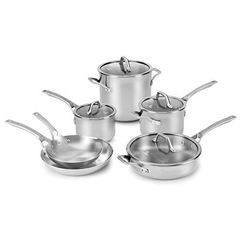Calphalon Signature 10 Piece Set|Stainless Steel Cookware, Silver
