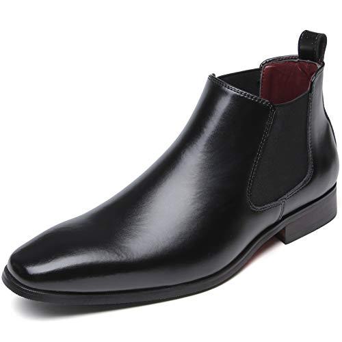 [フォクスセンス] ブーツ ビジネスシューズ チェルシーブーツ サイドゴア ブーツ メンズ 革靴 本革 防水 ブラック 27.5cm 712-01