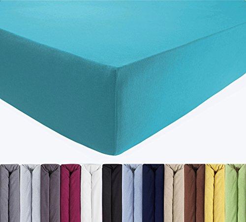 ENTSPANNO Jersey Spannbettlaken für Wasser- und Boxspringbett in Türkis Petrol aus gekämmter Baumwolle. Spannbetttuch m. Einlaufschutz, 180 x 200 | 200 x 200 | 200 x 220 cm, 40 cm hohe Matratzen