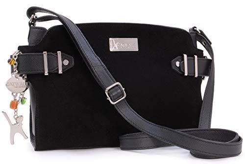 Catwalk Collection Handbags - Vera Pelle - Borse a Tracolla/Borsa a Mano/Messenger/Borsetta Donna - Con Ciondolo a Forma di Gatto - Amanda - NERO LS