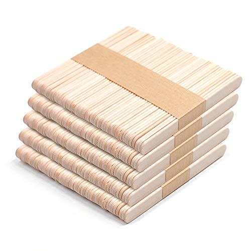 Keleily Palitos de Madera Manualidades 250Pcs Palitos de Madera Natural Palitos de Helado Lisos para Manualidades, Maquetas, Suministros para Niños, 114 X 10 X 2 mm, Natural