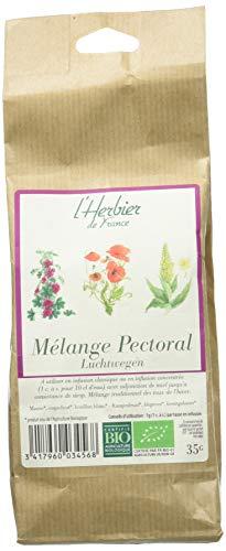 L'Herbier de France Mélange Pectoral, Bio, Sachet Kraft, Miel, 35 g