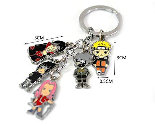 Multiculture Naruto schlüsselanhänger mit 5 Mini Chibi Figuren