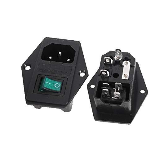 X-DREE 2 x lámpara verde Interruptor oscilante Portafusibles IEC C14 Toma de corriente CA 250V(2 x Green Lamp Rocker Switch Fuse Holder IEC C14 Power Socket AC 250V