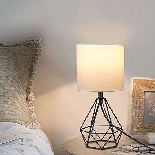 Depuley Lámpara de mesa retro, luz cálida (bombilla E27 incluida), diseño retro y clásico, ahorro de energía, metal negro, pantalla de tela