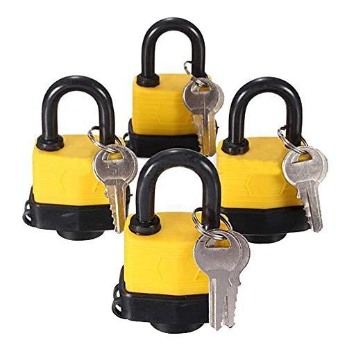 LNDDP 4 Piezas 40 mm Impermeable con Llave Igual candado Laminado Padlock Pad Misma Puerta Puerta Llave