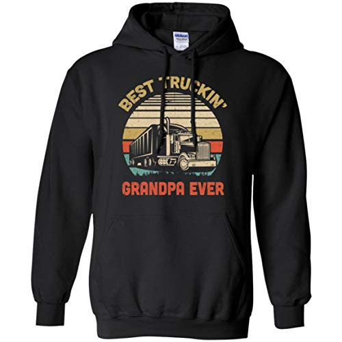 Ateesdas Vintage Best Truckin' Grandpa Ever Shirt Hoodie (Black, 3XL)