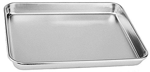 Hengdai Bandeja de horno compacta de acero inoxidable para tostadora, profesional, resistente y saludable, borde profundo, acabado de espejo superior, apto para lavavajillas... (31 x 25 x 2,5 cm)