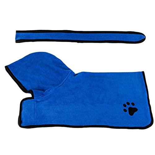 cdzhouji Absorbente Perro Toalla Pascua Toalla Toalla Perro Secado Rápido Pelleza Albornoz Ajustable Pijamas con Capucha Blue L