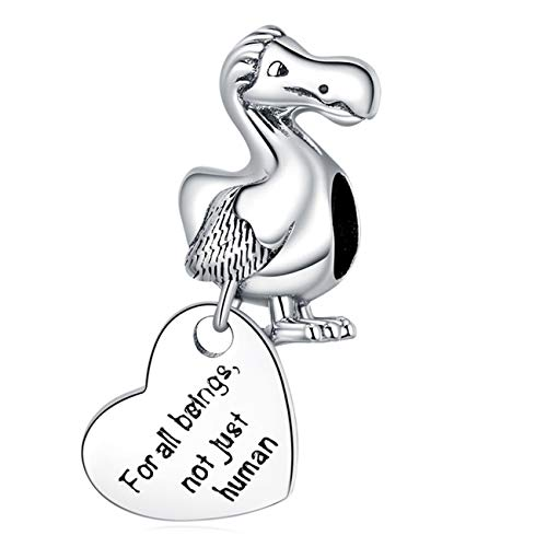ZiFouDou Bead Charms for Pandora Bracelet or Necklace,925 Silver Charm for Chamilia Bracelet -Dodo Heart