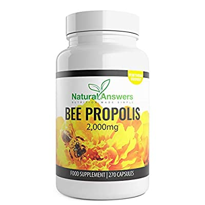Bee Propolis 270 x Tablets 3 Months supply. Each capsule is 1000mg. 2 Capsules per serving providing 2000mg of Natural Wholefood Pills.Highest strength and rapid release supplement. Health and immune booster. Antioxidant 135 servings by Natural Answers