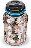 Banco de monedas digital, tarro, contador de monedas, alcancía de 1.8L, caja de ahorro de dinero, tarro con batería LCD, contador de monedas para niños, adultos, niños, niñas como regalo único
