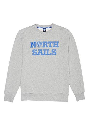 NORTH SAILS Uomo Felpa in Blu Navy Cotone Biologico con Maniche Lunghe e Scollo Rotondo - vestibilità Regular - L