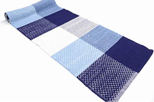 Madrid Tappeto Cotone Lavabile Bagno Cucina Antiscivolo 55x240 Vari Colori Lavabile in Lavatrice 30° (Blue, 55x240cm)
