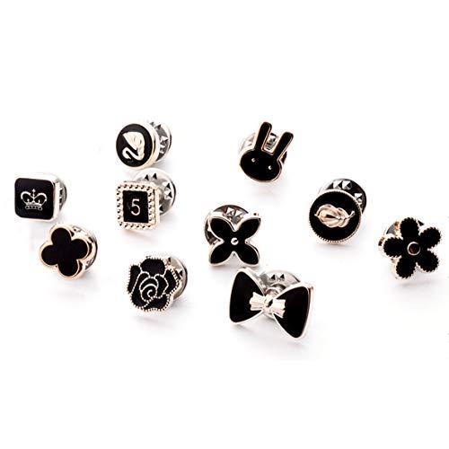 ALOHAMONI (アロハモニ) ブローチ タックピン 10個 セット ピンブローチ ピンバッジ ラペルピン ネクタイピン タイタック ハットピン ボタン 縫製不要 レディース メンズ キッズ ユニセックス (ブラック)