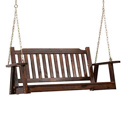 Anjor Front Porch Swing Seat with Hanging Chains Wood Outdoor 4 Ft, Burnt Brown