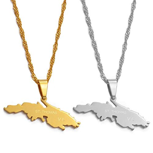 DGSDFGAH Collar De Mujer Saint Thomas Island Mapa Colgante Collar, Unisex Moda Étnica Encanto Colgante Cadena Joyas, Hombres Mujeres Regalos Accesorios De Ropa Personalizada, Plata, Cadena De 60 Cm