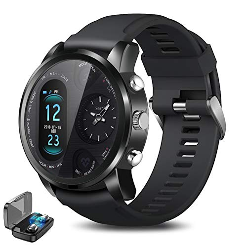 CETLFM Dual Display heren Smart Watch Premium waterdicht sport- en zakelijk herenhorloge + Premium Bluetooth headset