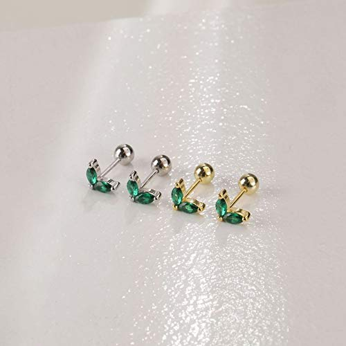 LIEQUAN Pendientes pequeños con botón de Flores Pendientes de Diamantes Joyas para el oído 925 Pendientes de Hueso de Plata para Mujer Mini(Piedra Verde Dorada)