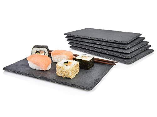 Sänger Schiefer Platten Set Sushi lasiert 6 teilig 22x16 cm, Tisch Untersetzer, Stylische Servierplatten mit Gummifüßen zum Schutz, bereits geölt, 8 Ersatz Füße inklusive, Robustes Design