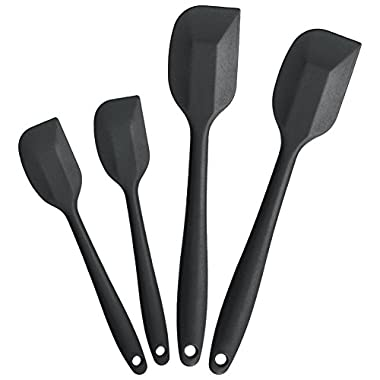 BonBon Heat Resistant 4pcs Silicone Spatula Scraper Kitchen Utensil Set 2 Large and 2 Small Spatulas - Dishwasher and Oven Safe Black (Black)