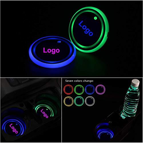 Gabriel Verbesserte LED Getränkehalter Auto Untersetzer Lichter, Logo Cup Halter Matte Pad Wasserdicht, innenbeleuchtung Auto Atmosphäre Lampe Dekoration Licht, 7 Farben, 2pcs (für V-W)