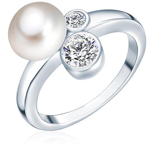 Valero Pearls Damen-Ring Hochwertige Süßwasser-Zuchtperlen in ca. 8 mm Button weiß 925 Sterling Silber Zirkonia weiß - Perlenring mit echten Perlen weiss 60200012