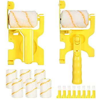 Set of 16 Paint Edger Roller Brush Paint Edger Combo Kit Clean Edge Paint Roller with Extra Replacement Roller and Brush for Wall Ceiling Indoor Outdoor Room Painting