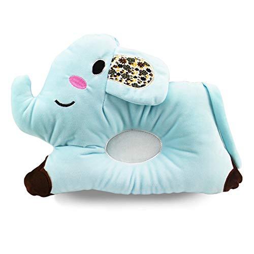 QiKun-Home Bel Cartone Animato a Forma di Elefante Cuscino per Neonato Cuscino per Cuscino di Supporto per posizionatore per Dormire a Testa Piatta per Neonati Blu