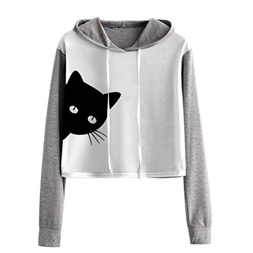 VJGOAL Sweet Capuche Ete Haut Femme Chic À Manches Longues De Mode Panda Chat Imprimer Casual Crop Blouse Pull Sweat Belle Vitalité T-Shirt D'été Automne Nouveau