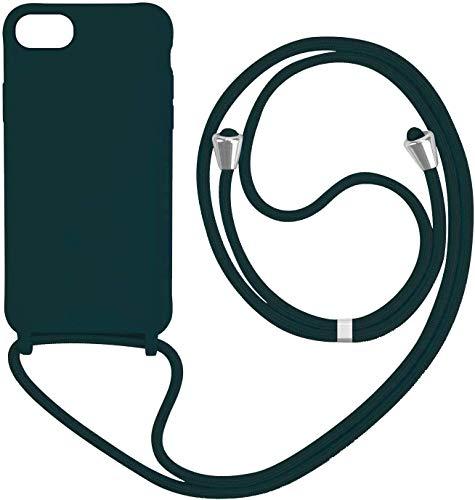 Funda para iPhone 6/ iPhone 7/iPhone 8 con Cuerda, Silicona Líquida Carcasa TPU Suave Case con Correa Colgante Ajustable Collar Correa de Cuello Cadena Cordón Anti-Choque, Verde Oscuro
