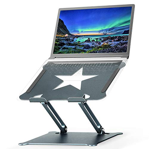 Luxby Laptop Stand, Aluminum Foldable Computer Stand with Laptop Cooling Pad, Ergonomic Adjustable Laptop Riser Compatible with All Laptops 10-15.6' MacBook Pro, iPad Air