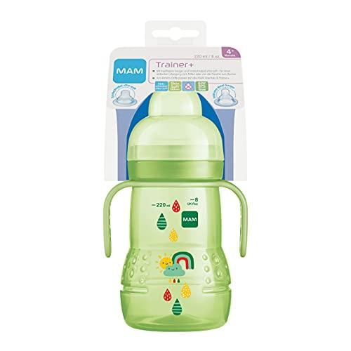 MAM Trainer+ (220 ml), Trinklernflasche für den Übergang zum Becher, Trinklernbecher mit tropffreiem Sauger, Trinkschnabel & Haltegriff, 4+ Monate, Regenbogen