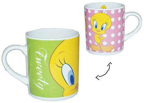 alles-meine.de GmbH Henkeltasse klein - Tweety - Porzellan / Keramik - Trinktasse mit Henkel Tasse / Espressotasse Becher Porzellantasse - Espresso - Tassen für Kinder Mädchen Ju..