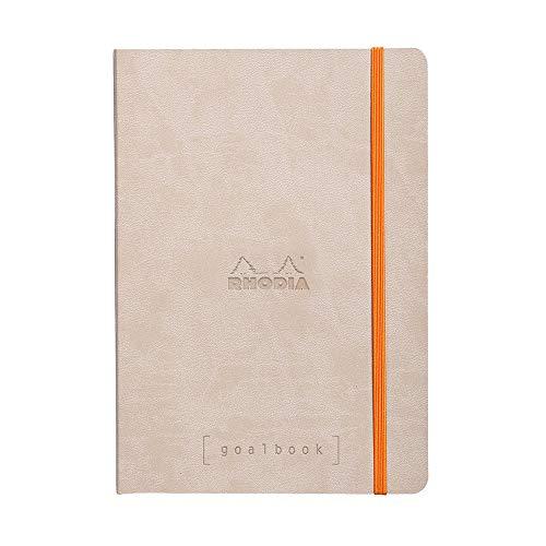 Rhodia 117745C Notizheft Goalbook (DIN A5, 14,8 x 21 cm, Dot, praktisch und trendige, mit weichem Deckel, 90g, elfenbeinfarbigem Papier, 120 Blatt, Gummizug, Lesezeichen) 1 Stück, Beige