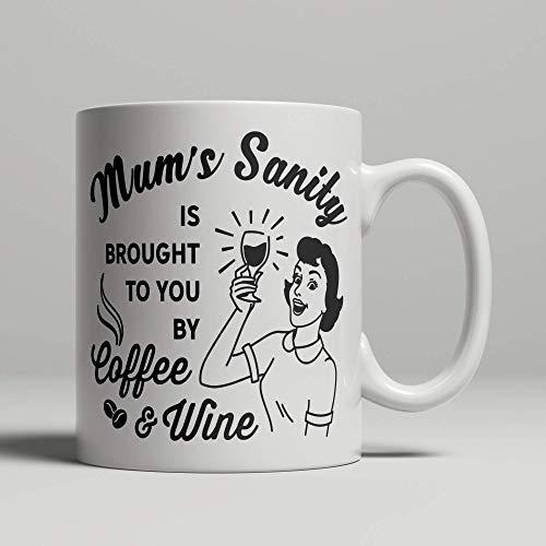 Taza de vino y café para mamá de hijo, hija, marido o pareja, divertida taza para el día de la madre o cumpleaños, estilo vintage