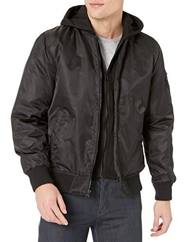GUESS Men's Hooded Bomber Jacket, black, L