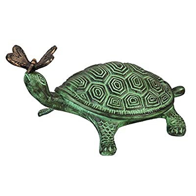 Evergreen Garden Outdoor Decor, Turtle and Butterfly Verdigris Metal Garden Statue - 9 x 14 x 7 Inches, Animal Themed Decor for Your Garden Patio or Yard