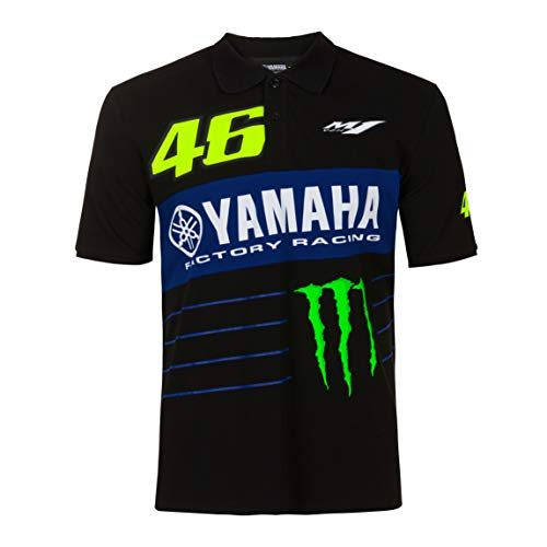 Valentino Rossi Kollektion Yamaha Monster 46 Herren-Poloshirt Large Schwarz
