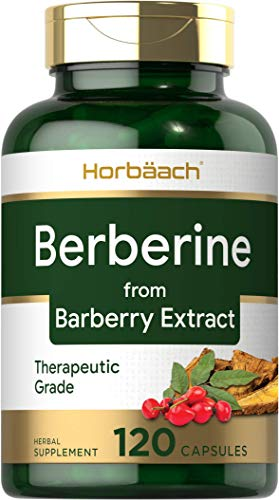 Berberine Capsules | 120 Count | Blood Sugar Support | Berberine HCI Supplement | from Barberry Extract | by Horbaach