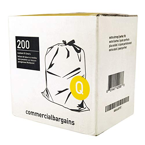 Commercial Bargains Code Q Custom Fit Drawstring Trash Bags, 50-65 Liter / 13-17 Gallon, 8 Roll, Simplehuman Code Q Compatible (200 Count) (Code Q - 13-17 Gallons)