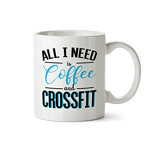 All I Need is Coffee and Cross Fit Mug Fitness Gym Workout Ceramic Cup (Prime)